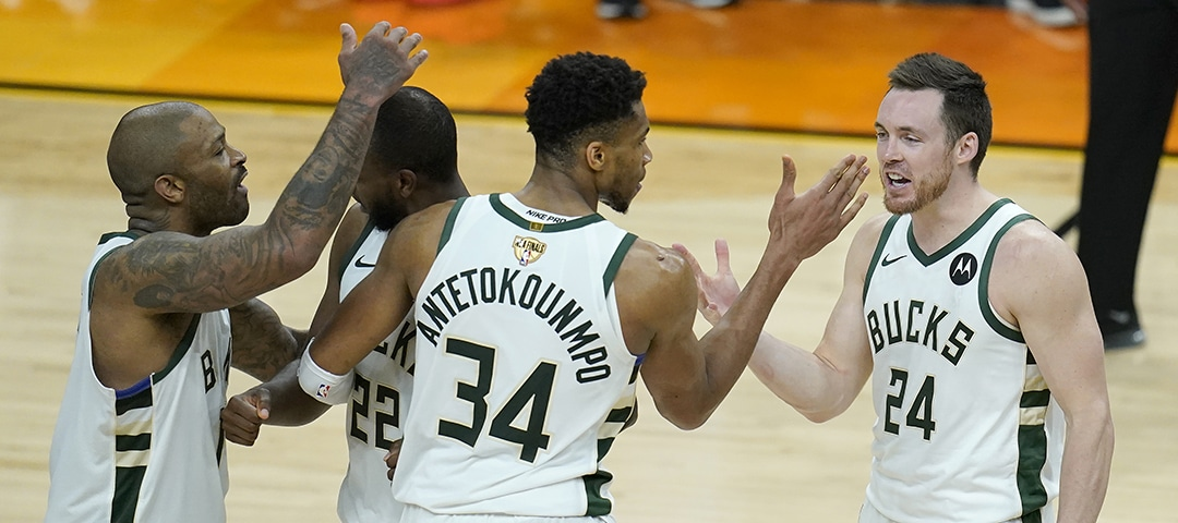 Bucks Celebrate while playing the Suns Game 5