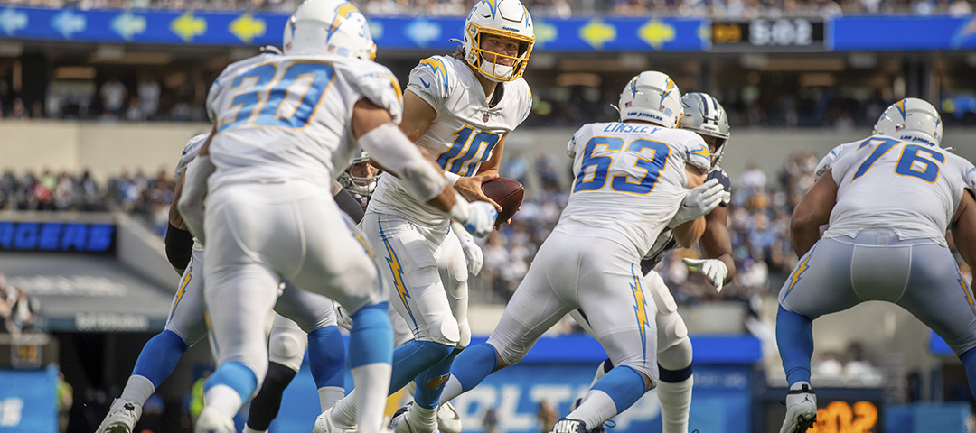 Quarterback (10) Justin Herbert of the Los Angeles Chargers